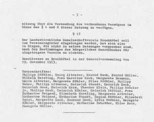 Letzte Seite der Satzung von 1939 mit Namen der Unterzeichner